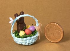 Cute Blue Miniature Easter Basket for Your Dollhouse by DinkyWorld on Etsy