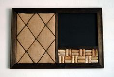 Burlap French Memo Board Wine Corkboard & by KaiHinaCoastal