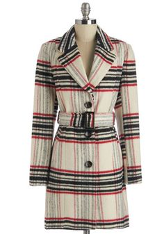 Metro Beat Coat - Long Sleeve, Fall, Winter, Good, White, Long, Woven, Plaid, Buttons, Belted, Cream, Work, 70s, 3, Press Placement