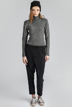 Jete Pant by Canadian eco-fashion label Pillar. Elastic waist pant with cross-over front available in black. Ethically made in Vancouver, Canada. Elastic Waist Pants, Ribbed Top, Fashion Labels, Slow Fashion, Cotton Spandex, Black Pants, Normcore, Turtle Neck, Street Style