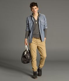 white striped blue shirt, charcoal v-collar tee, camel chino / men fashion