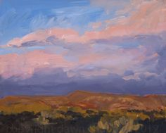 sunset light on glorietta mesa, ii ~ oil on panel (plein air) ~ by dawn chandler ~ www.taosdawn.com
