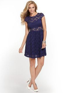 Fit-and-Flare Lace Dress | GUESS.com