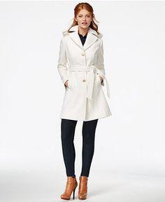 MICHAEL Michael Kors Hooded Belted Walker Coat - Coats - Women - Macy's