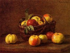 """Henri Fantin-Latour (1836-1904) """"Apples in a Basket on a Table"""" (1888) Oil on canvas Currently in a private collection"""