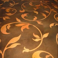 Stenciled stained concrete, for the basement