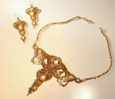 charlotte lissel - pearls, swarovski and beads - bellydance jewelry set (necklace and earrings)