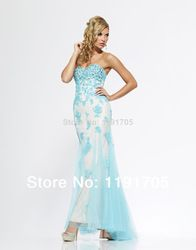 Online Shop Free shipping Sweetheart Strapless Beaded Blue Prom dress 2014 Straight Floor Length Evening Gowns 2014 New Arrival|Aliexpress Mobile