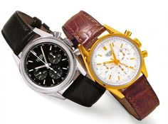 Two Heuer Carrera Re-editions models from 1997/ 8- Black dial and Yellow Gold