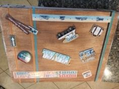 I love vintage items and decided to decorate this wooden suitcase I picked up at a thrift store to look vintage. Look Vintage, Vintage Items, Decor Crafts, Fun Crafts, Paint Primer, Brown Paint, Tape Crafts, Metallic Paint, White Paints