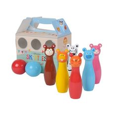 Suitable for children 3 years +, these cute wooden skittles are high and come packaged in a handy carry box. Each set includes 6 skittles and 2 wooden balls. These would also make super cute room decor when displayed on a shelf. Toddler Toys, Kids Toys, Tiger Tribe, Baby Shop Online, Cute Room Decor, Wooden Animals, Childrens Gifts, Educational Toys For Kids, Wood Toys