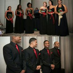 Bridesmaids different dresses, all black chiffon. Groomsmen picked their own black suits (same shirt , tie and pocket square). Coordinated but your wedding party can spend what ever they are comfortable with.