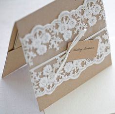 Lace wedding invitations  Rustic wedding by TheWeddingInvitation, £6.00