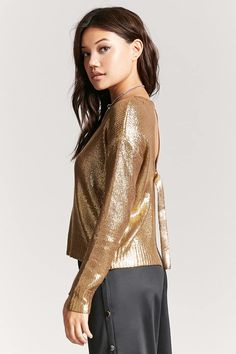 Product Name:Metallic Open-Back Sweater, Category:sweater, Price:29.9