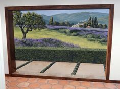 Provence Mural by Jeff Raum Studios seen at Private Residence, Westlake Village Unique Wall Art, Unique Home Decor, Newbury Park, Westlake Village, Ceramic Wall Art, Modern Wallpaper, West Lake, Pavement, New Artists