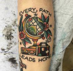 tattoos globe wanderlust traditional tattoo indiana globe tattoo ft wayne joel…