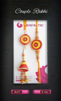 Crafantic Quill Couple Set: This rakshabandhan tie a matching Rakhi & Bhabhi Rakhi (Lumba) to your dearest brother & bhabhi. Quilling Cards, Paper Quilling, Creative Crafts, Diy And Crafts, Quilling Rakhi, Rakhi Bracelet, Handmade Rakhi Designs, Rakhi Making, Rangoli Ideas