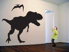 her wall is currently green, so i was thinking of putting purple dinosaur silhouettes on the wall