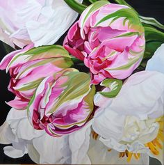 $1,950. 76 x 76 cm. Deep Edge Canvas (3.5cm) Acrylics on canvas with oil glaze.Three bright pink tulips resting on white peonies. A richly bea