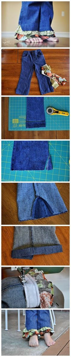 Tutorial ~ Ruffle Cuff Pant Legs........For when their jeans get too short, but still fit.