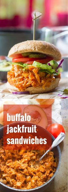 Tender jackfruit is simmered in spicy maple Buffalo sauce and stuffed into buns to make these mouthwatering pulled jackfruit sandwiches.
