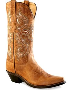 Old West Women's Rustic Tan Western Boots - Snip Toe | Sheplers