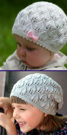 Lace Knitting Pattern for Calinka Beret in Baby, Child, and Teen Sizes - Hat knit with leaf lace and picot brim. Sizes Baby/Toddler (Child, Teen) to fit head: 43 / 17 Designed by Maria Socha Baby Knitting Patterns, Baby Hats Knitting, Knitting For Kids, Knitting For Beginners, Lace Knitting, Knitting Stitches, Baby Patterns, Crochet Patterns, Crochet Ideas