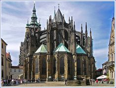 East view of St. Vitus Cathedral in Prague, CZ. I particularly love the Gothic-style flying buttresses.