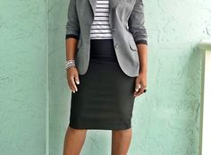 Business professional work outfit: grey blazer, white and black striped top, black pencil skirt. I'd wear with black heels.
