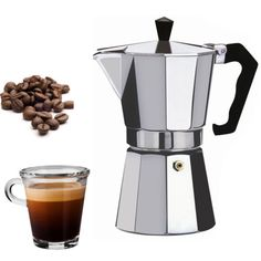 Laroma 18/10 Stainless Steel 6-Cup Stovetop Espresso Coffee Maker (Dishwasher Safe) with ...
