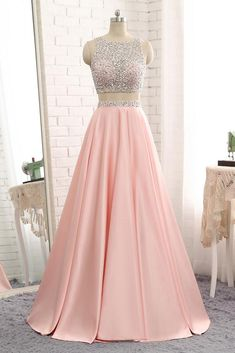 Sparkly Beaded 2 Pieces Prom Dress 2019 Custom Made Satin Beadings Long Pink School Dance Dresses Fahion Two Pieces Evening Party Dresses Source by ealdwell dresses party Prom Dresses Two Piece, Cute Prom Dresses, Backless Prom Dresses, Pretty Dresses, Beautiful Dresses, Homecoming Dresses, Formal Dresses, Dress Piece, Elegant Dresses