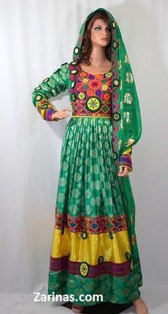 """Bahar Formal Afghan Dress. Bring spring back with this beautiful Bahar Afghan formal dress! The full length measures 54"""" inches from the back center of the neck to the bottom, and the width at the bust is 19"""" inches at the front panel from seam to seam. Please note: Due to the style, the belt can adjust the size from small to x-large."""