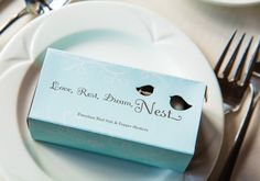 #OurWedding Favours. Love, Rest, Dream, Nest <3 #LoveIsInTheAir #Weddingbells english-country-garden-wedding