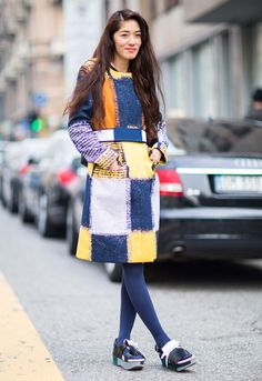 Flat forms and blue tights...what a fun combo. #MFW