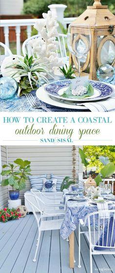 How to Create A Coastal Outdoor Dining Space #coastal #outdoorentertaining #outdoordining #blueandwhite #coastaldecor #coastalcenterpiece #deck #outdoorliving