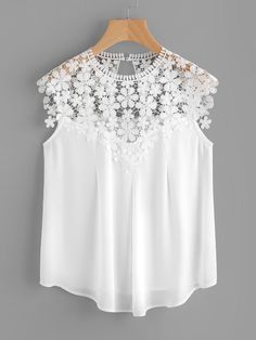 Shein Keyhole Back Daisy Lace Shoulder Shell Top