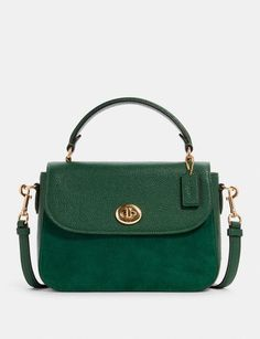Coach Outlet, Kelly Green, Pebbled Leather, Satchel, Shoulder Bag, Handle, Bags, Top, Style