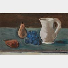 STANLEY MOREL COSGROVE, R.C.A. NATURE MORTE AUX POIRES  oil on canvas board signed  10 ins x 16 ins 25.4 cms x 40.6 cms Morel, Painting, Art, Painting Art, Paintings, Kunst, Paint, Draw, Art Education