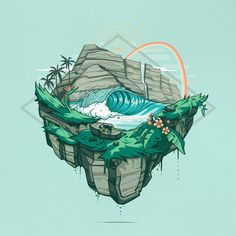 """Slice of Paradise"" alternate color way #onevibe #onevibehawaii #clientwork #wip #vector #vectorart #bestvector #visforvector #design #designtip #thedesigntip #graphicdesign #graphic #graphicdesigncentral #picame #dribbble #illustrator #illustration #hawaii #aloha #ocean #surf #art #illustree #adobe #adobeideas #adobeillustrator"