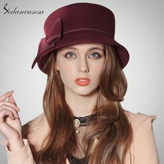 Europe American Sombreros Women 100% Australian Wool Cloche Fedora Hats Women Basin Formal Winter Autumn Derby Hat FW091003