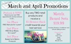 56 West Salon, Day Spa and Boutique's March and April Promotions 2013