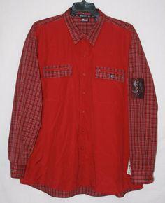 Bugle Boy Jeans Co Crimson Plaid Button Front Shirt 2XL Long Sleeve Zip Pockets Men's Fashion