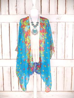 Sheer gauzy turquoise blue floral handmade kimono cardigan cover up/long lightweight sheer blouse/lingerie/gypsy festival top  Features…