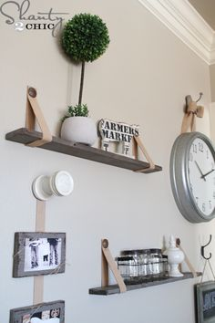 DIY Shelves with Leather Straps from Shanty 2 Chic