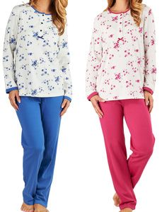 b2836e1193 These ladies pyjamas sets by Slenderella include a long sleeved floral top  with lace trim to