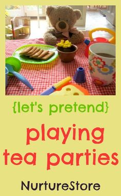 This simple tea party set-up is just right for toddlers and pre-schoolers – with a few added extras to really make the play fancy!