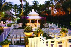 Gazebo at The Palms Hotel- candles all around gazebo- amber uplighting.