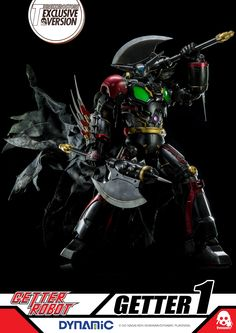 """~ 16"""" Getter Robot: Getter 1 3Zero Exclusive Black Edition is exclusive to 3Zero online store and features: Detachable Mask, Additional Scarf, Exchangeable Long & Short Arm Blades. Available on September 11th 9:00AM HKT at www.threezerostore.com for USD330 (worldwide shipping included). Head to our FB for more images and info: https://www.facebook.com/media/set/?set=a.1196745350351291.1073741934.697107020315129&type=1&l=c31dddaeb6 #threezero #GetterRobo #GetterRobot #GoNagai #KenIshikawa…"""