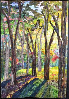Springtime Woodland art quilt by Charlotte Hickman. 2nd place - Art-Innovative, NQA - Columbus 2011 show