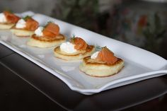 Mashed Potato Pancakes with creme fraiche and lox appetizers
